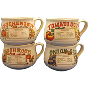 Soup Recipe Mugs Set of 4 Tomato Onion Mushroom Chicken