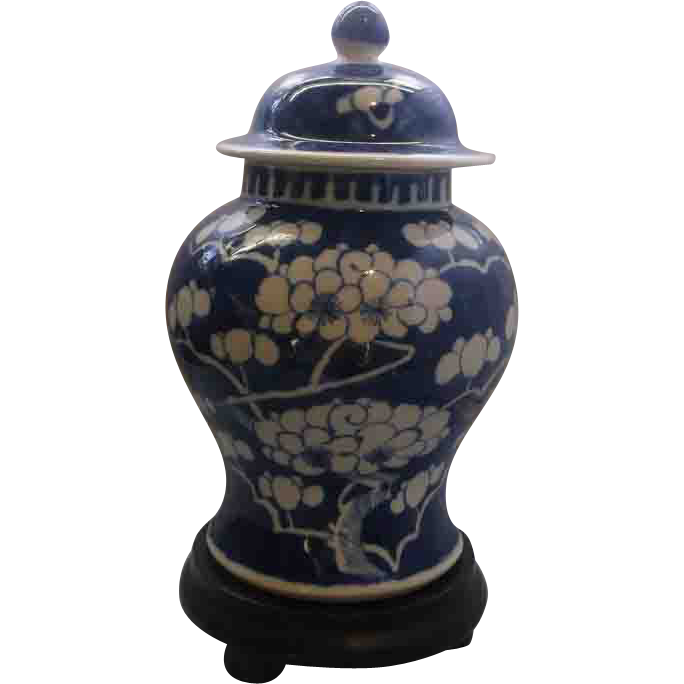 Chinese Porcelain Prunus Pattern Vase With Cover Blue White