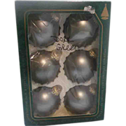 Krebs Christmas Ornaments Blown Glass Matte Green