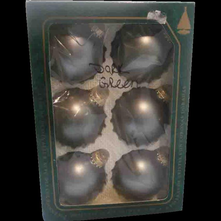 Krebs Christmas Ornaments Blown Glass Matte Green