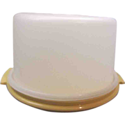 Tupperware Cake Saver Harvest Gold Sheer White