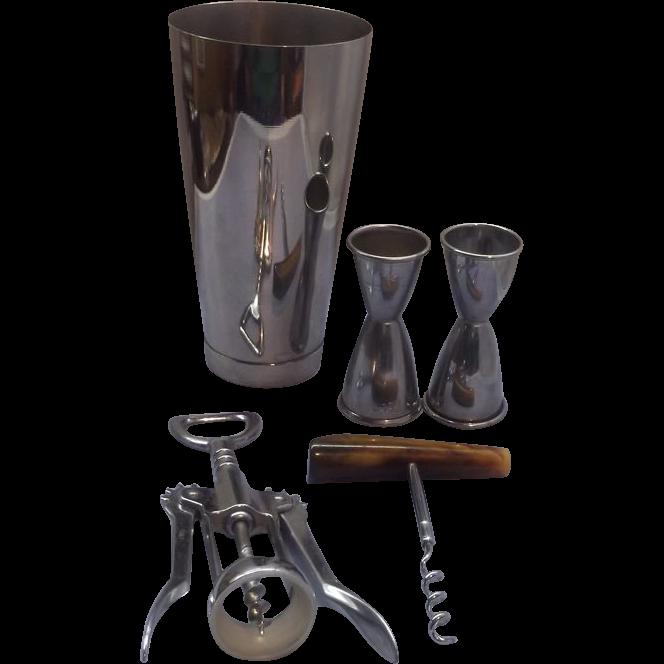 Cocktail Set Irvinware Shaker Bakelite Corkscrew Stirrer Italy Bottle Opener