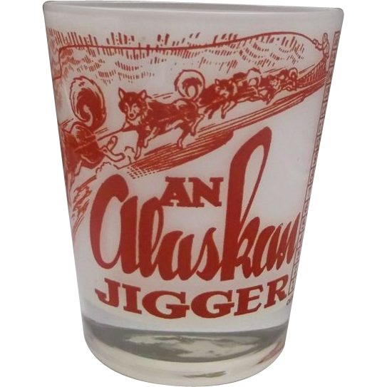 An Alaskan Jigger Red Decorated Glass Tumbler Souvenir Scenes