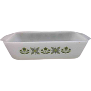 Fire-King Meadow Green Loaf Pan Milk Glass Green Flowers