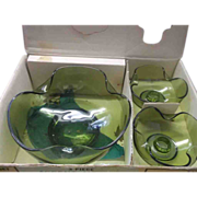 Anchor Hocking Accent Modern Console Set Bowl Candle Holders Avocado Green Original Box