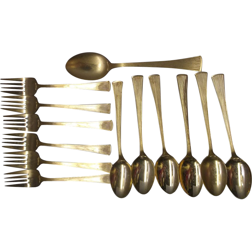 St. Moritz Barclay Geneve Gold Plated Flatware Teaspoons Forks