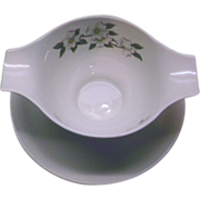 Homer Laughlin Dogwood Debutante Gravy Boat With Underplate
