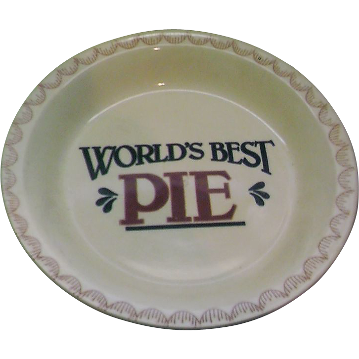 World's Best Pie Plate Pan Baker Red Blue