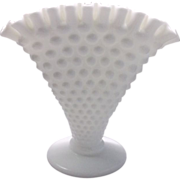 Fenton White Hobnail Milk Glass Fan Vase 389/3957
