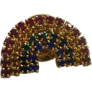 Rainbow Rhinestone Small Pin Gold Tone