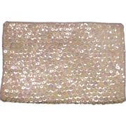 Walborg White Sequin Beaded Satin Clutch Purse Made in Hong Kong