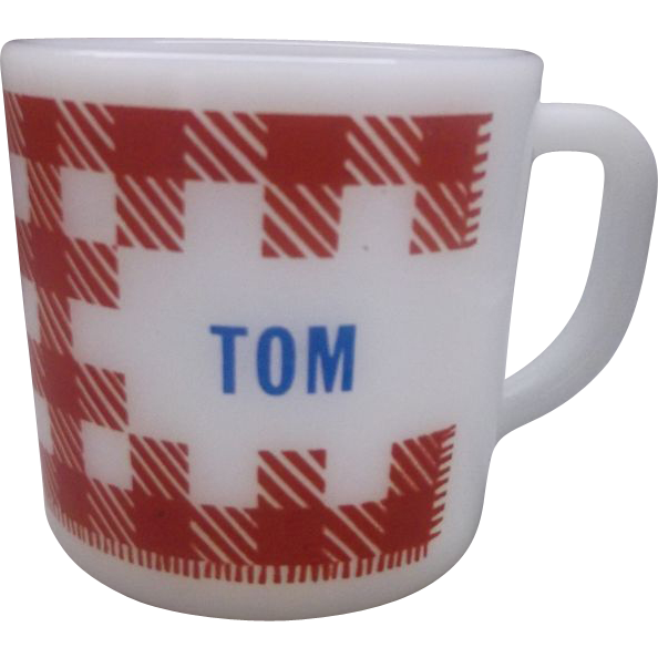Tom Red Check Gingham Plaid Milk Glass Mug Westfield Federal