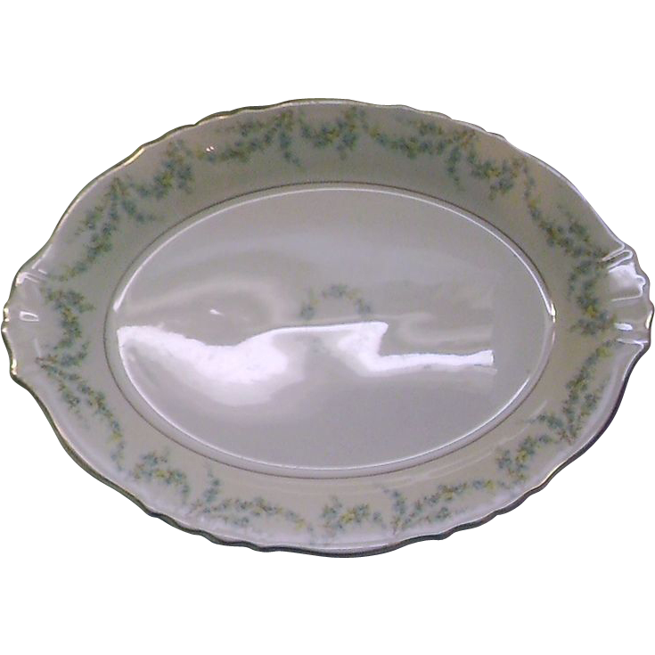 Syracuse China Federal Shape Blue Roses Swags Oval Platter
