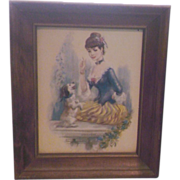 John Strevens Buff Girl Print Girl With Dog Wooden Frame