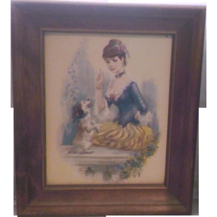 John Strevens Buff Girl Print Girl With Dog Wooden Frame