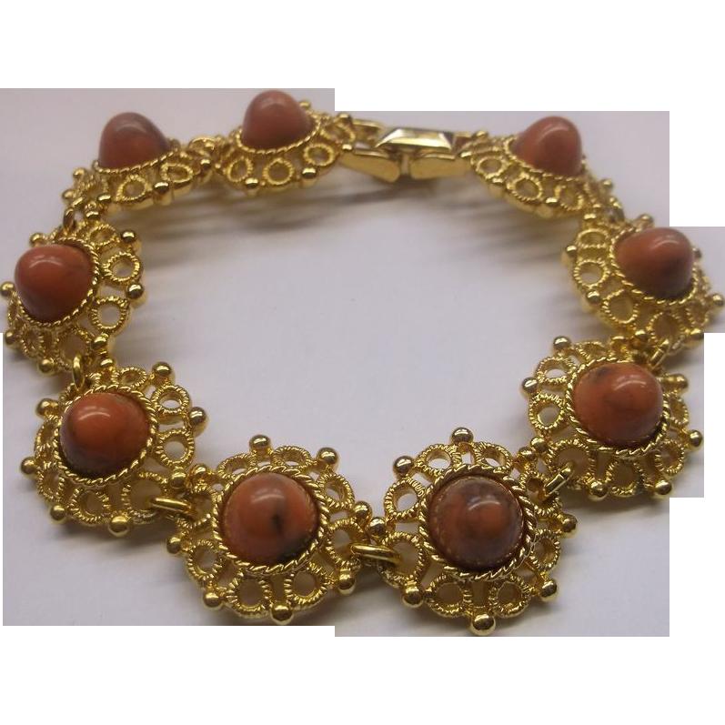 Sarah Coventry Valencia Faux Coral Goldtone Filigree Link Bracelet