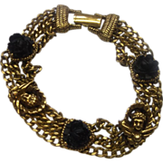 Goldette Black Roses Cherubs Chain Bracelet
