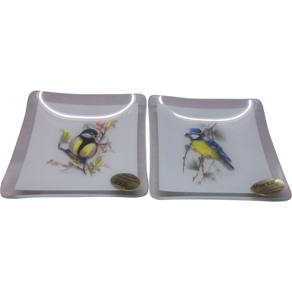 Blue Tit Great Tit Birds Bent Glass Square Dishes Chance Glass Pilkington Group England