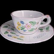 Herend Village Pottery Trellis Pink Flat Cup & Saucer