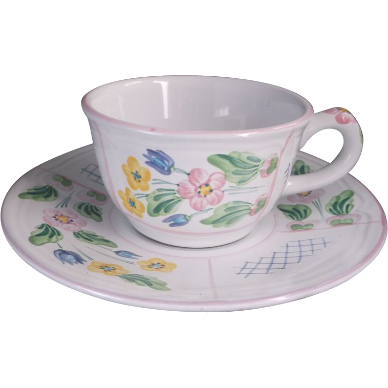Herend Village Pottery Trellis Pink Flat Cup & Saucer