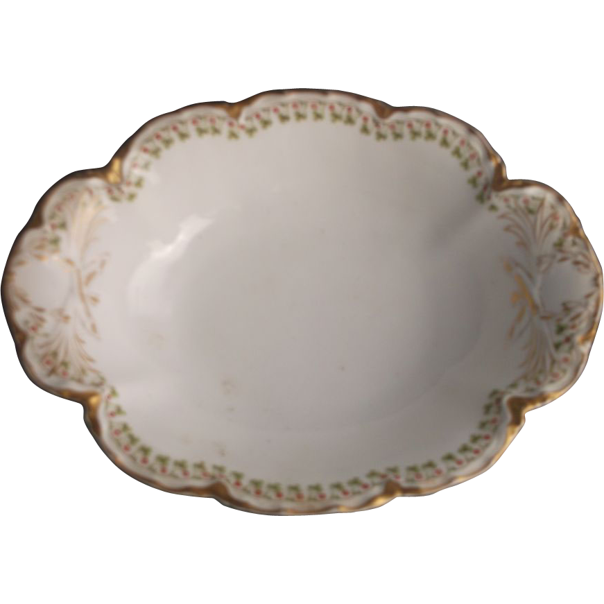 Haviland & Co. Limoges France Shamrocks Ranson Blank Oval Vegetable Bowl