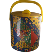 Bright Calico Print Patchwork Vinyl Ice Bucket Yellow Lucite