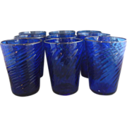 Cobalt Blue Hand Blown Swirl Glass Tumblers Set of 8