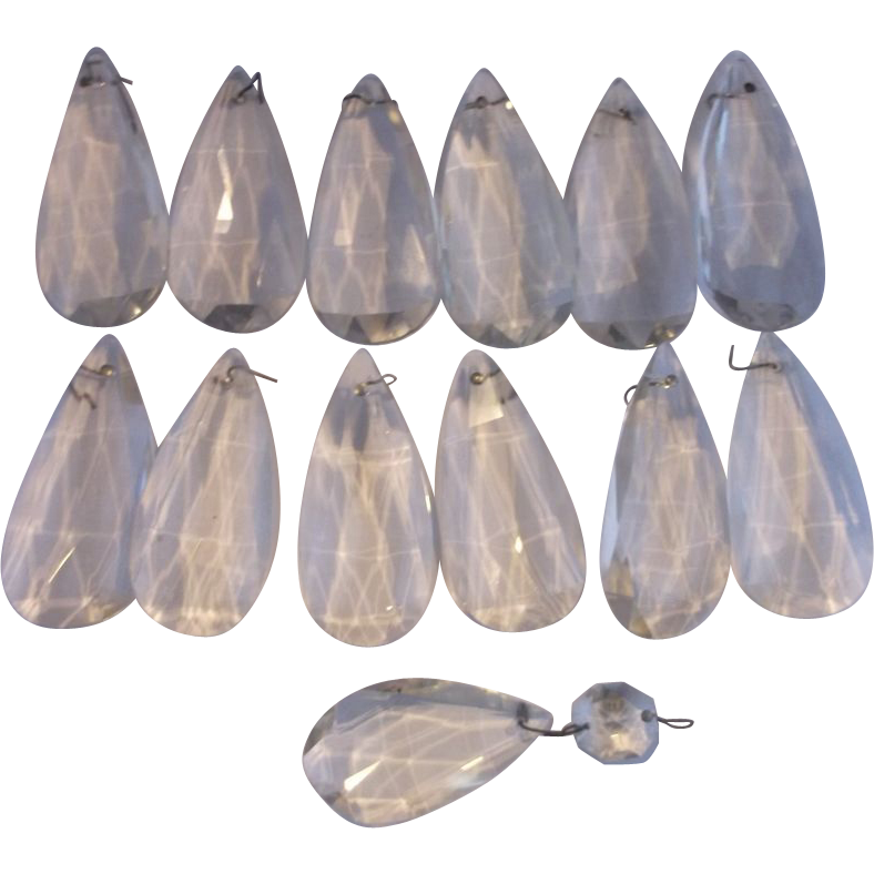 Teardrop Crystal Prisms Loose Set of 12 Plus 1