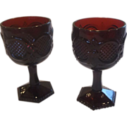 Avon Cape Cod Ruby Red Glass Water Goblets Pair