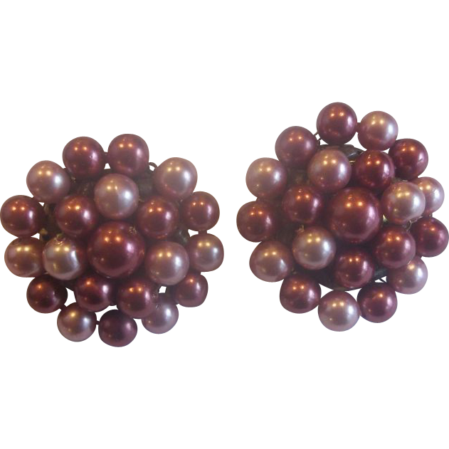 Pink Mauve Two Tone Faux Pearl Clip Earrings