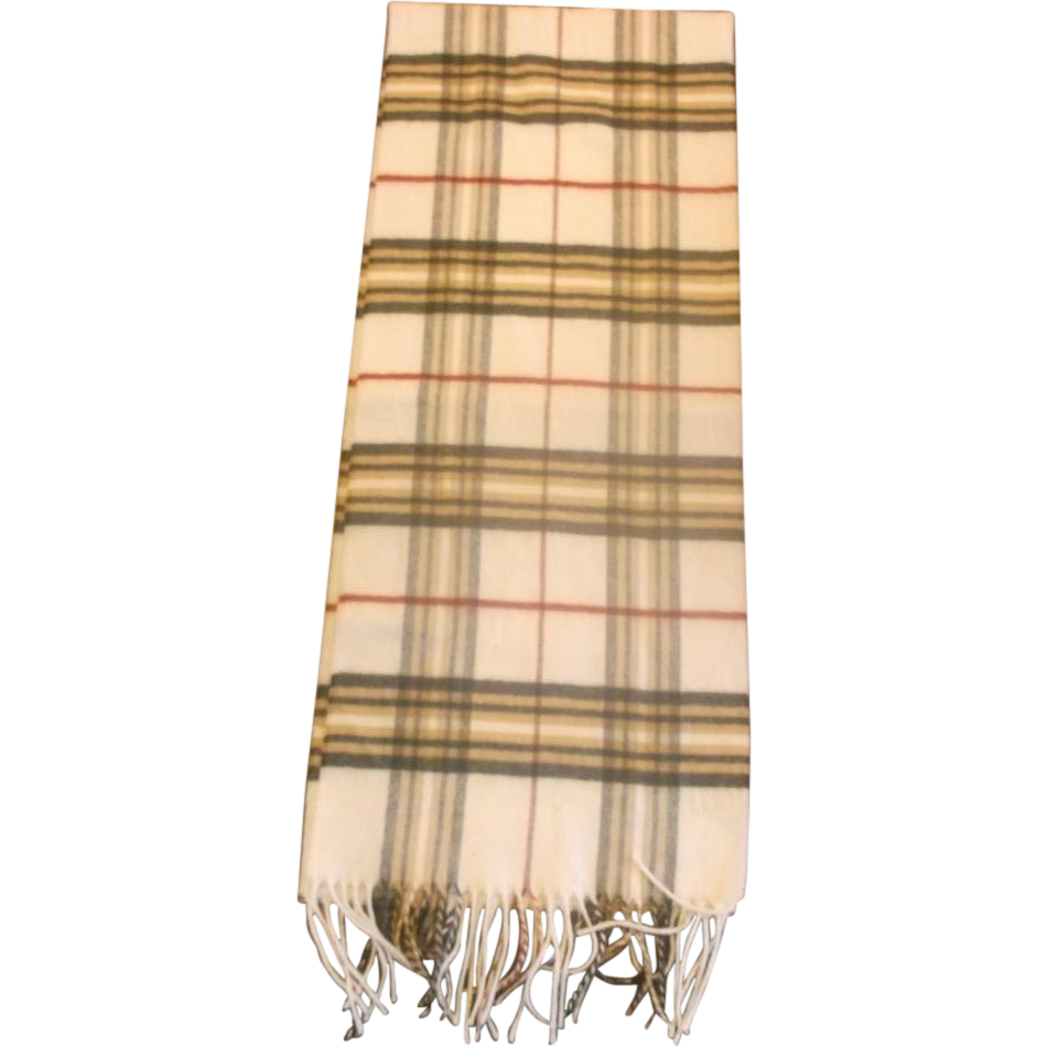 Croft & Barrow Cream Brown Plaid Fringed Muffler Scarf