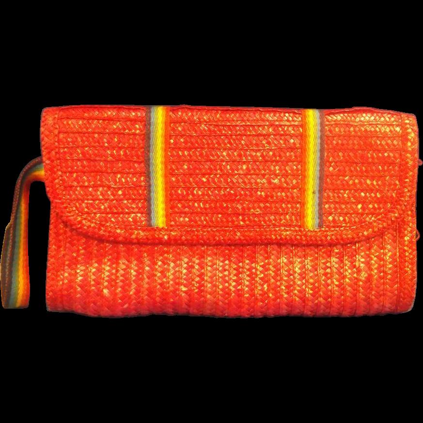 MCI Red Straw Braided Clutch Rainbow Stripe Detail