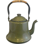 Olive Green Enamel Teapot Japan