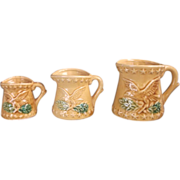 Eagle Embossed Measuring Cup Set Pottery Tan Glazed