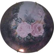 Hand Painted Pink Roses Porcelain Plate Decorative