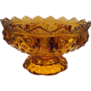 Fenton Colonial Amber Hobnail Candle Bowl