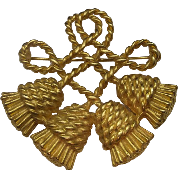 Rope Tassel Knot Brooch Pin Gold Tone