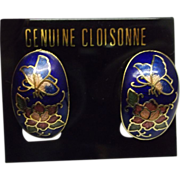 Cloisonne Earrings Oval Clips Butterflies Flowers Blue