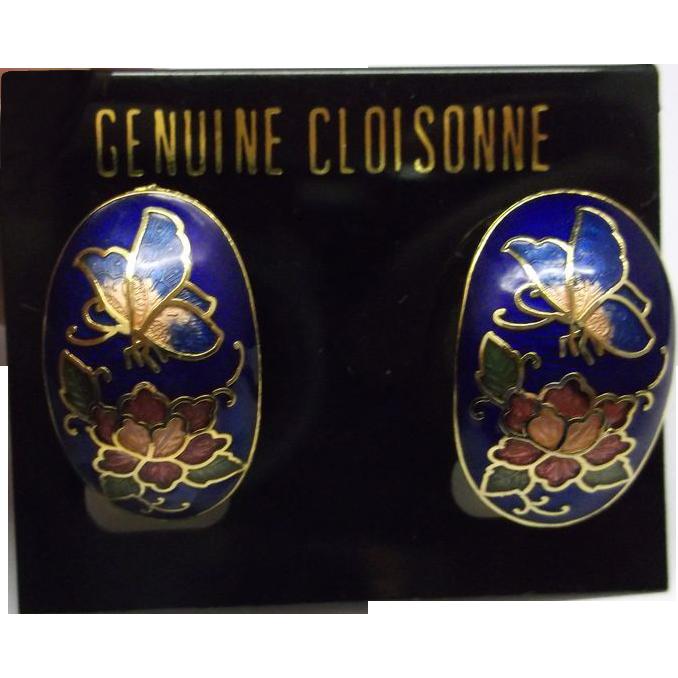 Cloisonne Earrings Oval Clips Butterflies Flowers Blue