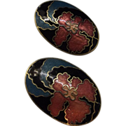Hibiscus Oval Cloisonne Earrings Clips