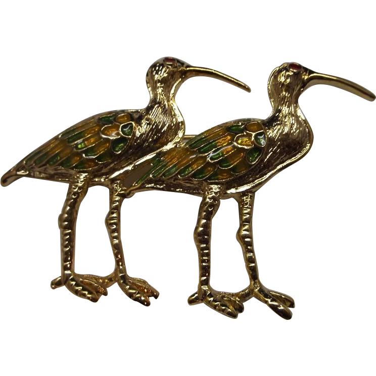 Enamel Gold Tone Birds Pair Pin Herons Cranes