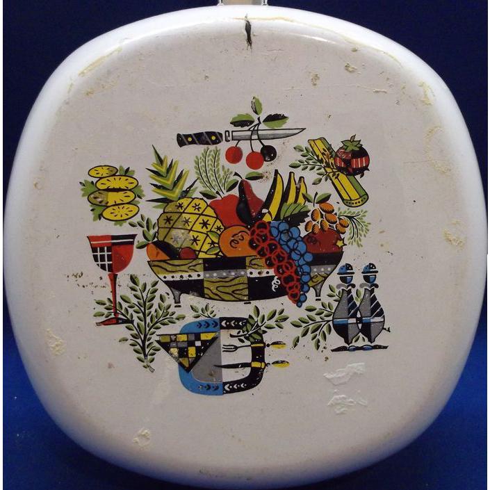 Food Decorated Enamel Small Skillet Pan Mid Century