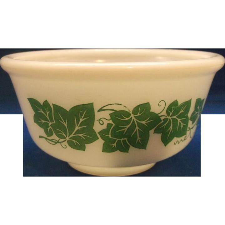 Hazel Atlas Ivy Green Milk Glass Mixing Bowl