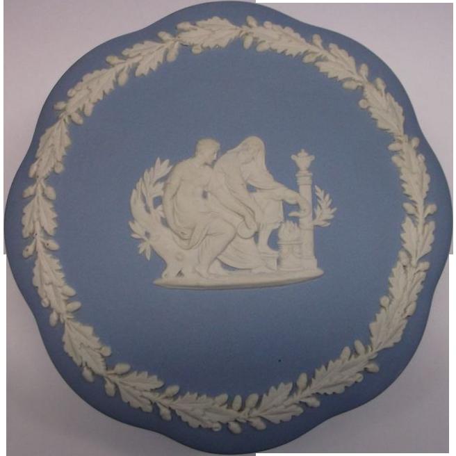 Wedgwood Jasperware Blue White Greek Mythology Scenes Covered Box