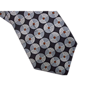 Oleg Cassini Necktie Circle Grey Black Pattern