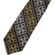 Super Skinny Black Jacquard White Gold Necktie
