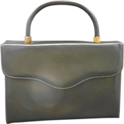 Triangle New York Grey Leather Box Kelly Style Handbag