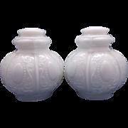 Spanish Lace Beaded Oval Milk Glass Pendant Ceiling Drop Light Fixture Globes