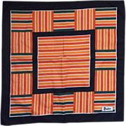 Nasharr Freres Bold Stripe Block Red Orange Black Scarf