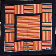 Nasharr Freres Bold Stripe Block Red Orange Black Scarf